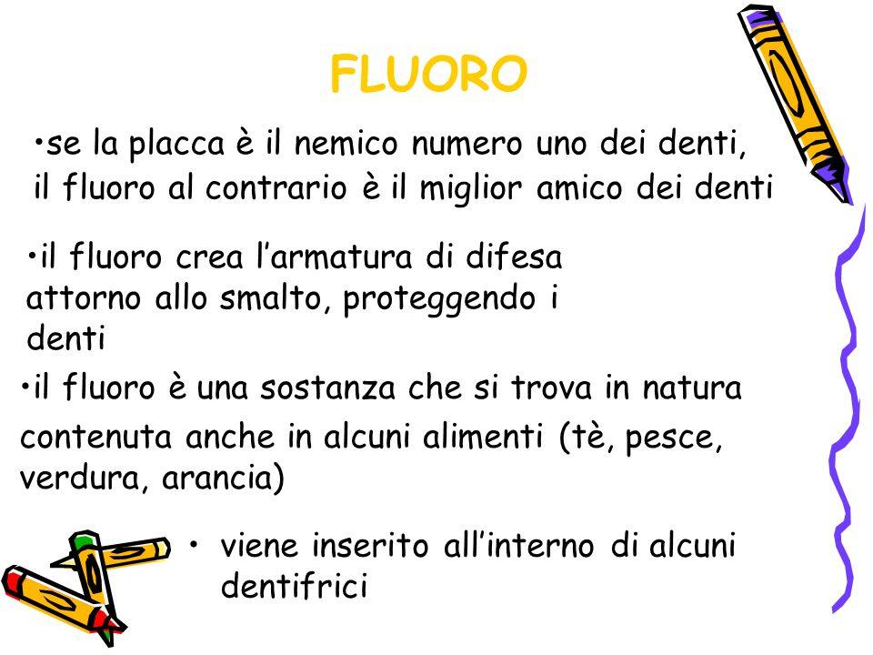 FLUORO viene inserito allinterno di alcuni dentifrici se la placca è il nemico numero uno dei denti, il fluoro al contrario è il miglior amico dei den
