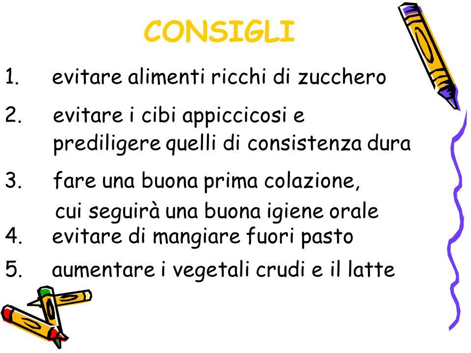 CONSIGLI 5.aumentare i vegetali crudi e il latte 1.evitare alimenti ricchi di zucchero 2.