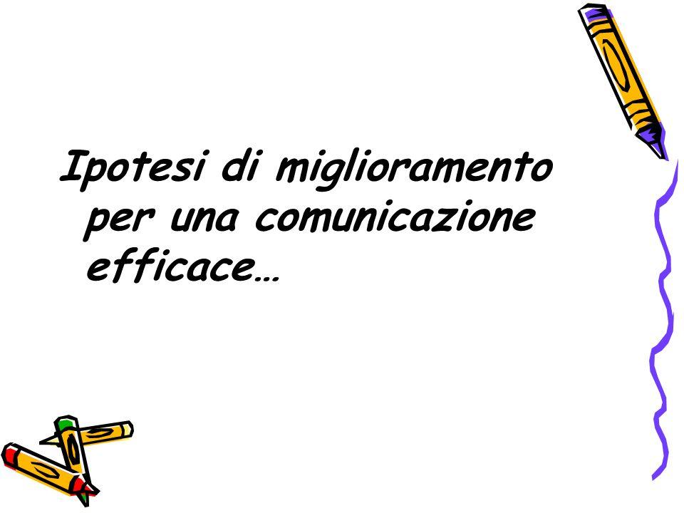Ipotesi di miglioramento per una comunicazione efficace…