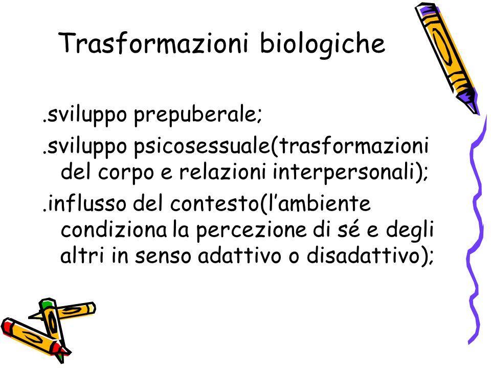 Trasformazioni biologiche.sviluppo prepuberale;.sviluppo psicosessuale(trasformazioni del corpo e relazioni interpersonali);.influsso del contesto(lam