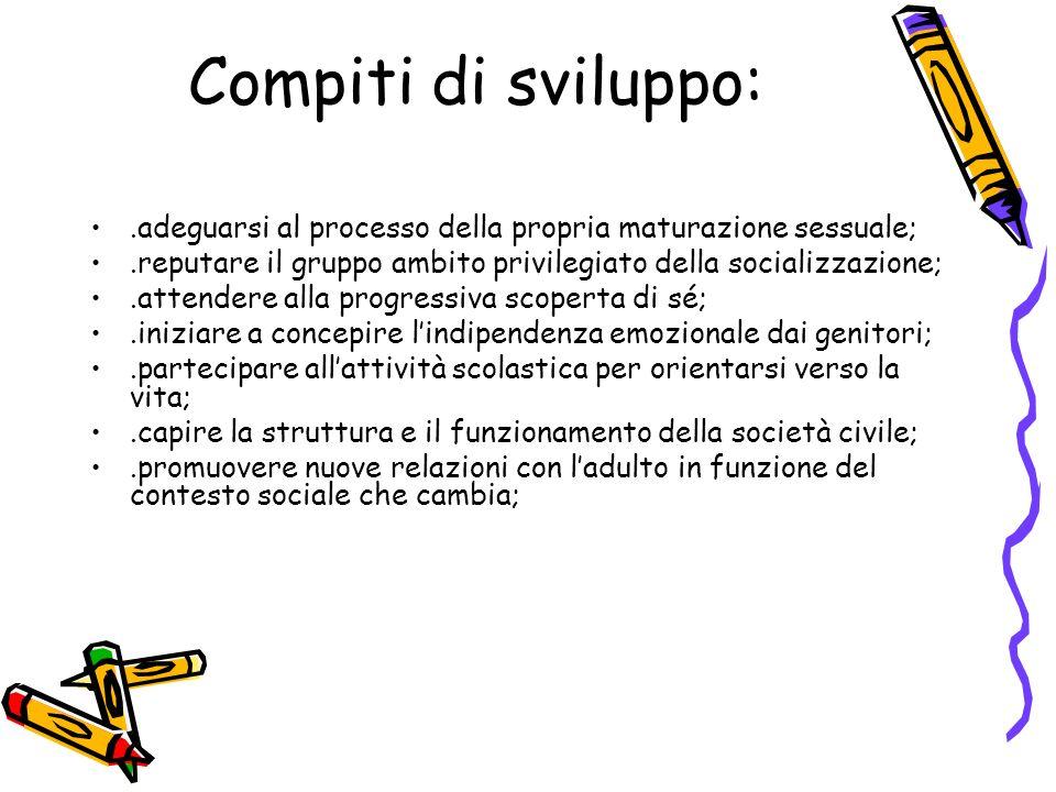 Compiti di sviluppo:.adeguarsi al processo della propria maturazione sessuale;.reputare il gruppo ambito privilegiato della socializzazione;.attendere