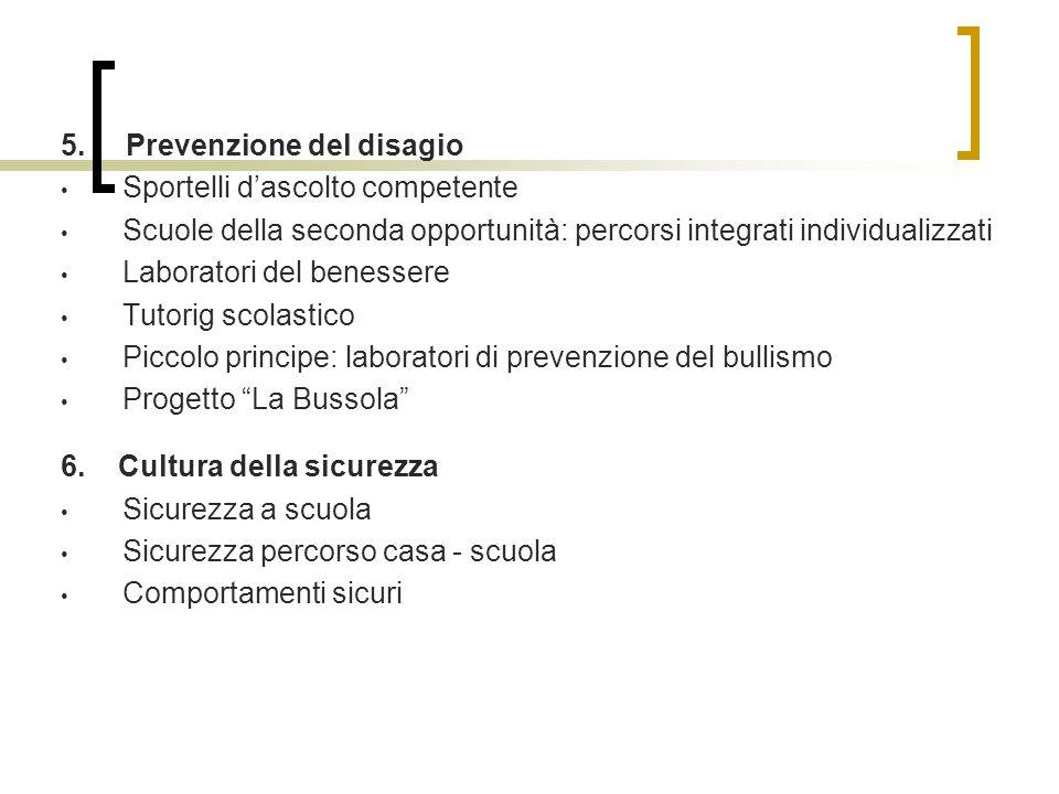 5. Prevenzione del disagio Sportelli dascolto competente Scuole della seconda opportunità: percorsi integrati individualizzati Laboratori del benesser