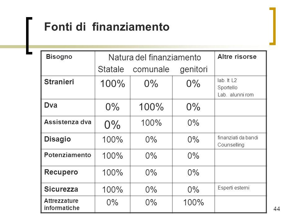 44 Fonti di finanziamento Bisogno Natura del finanziamento Statale comunale genitori Altre risorse Stranieri 100%0% lab.