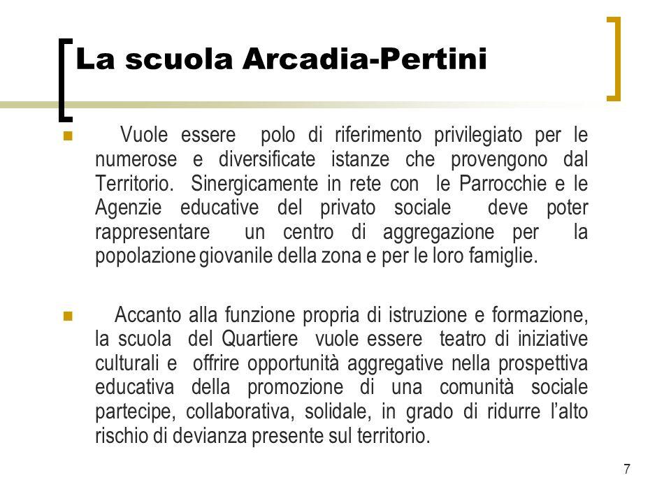 7 La scuola Arcadia-Pertini Vuole essere polo di riferimento privilegiato per le numerose e diversificate istanze che provengono dal Territorio.