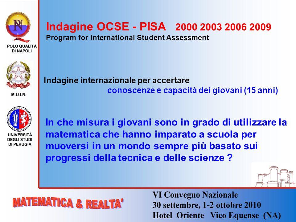 Indagine OCSE - PISA 2000 2003 2006 2009 Program for International Student Assessment Indagine internazionale per accertare conoscenze e capacità dei