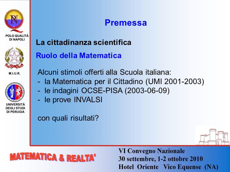 Premessa La cittadinanza scientifica Ruolo della Matematica Alcuni stimoli offerti alla Scuola italiana: - la Matematica per il Cittadino (UMI 2001-20