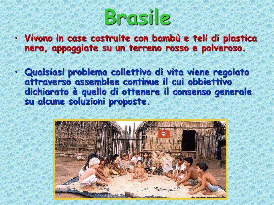 Brasile Vivono in case costruite con bambù e teli di plastica nera, appoggiate su un terreno rosso e polveroso.Vivono in case costruite con bambù e teli di plastica nera, appoggiate su un terreno rosso e polveroso.