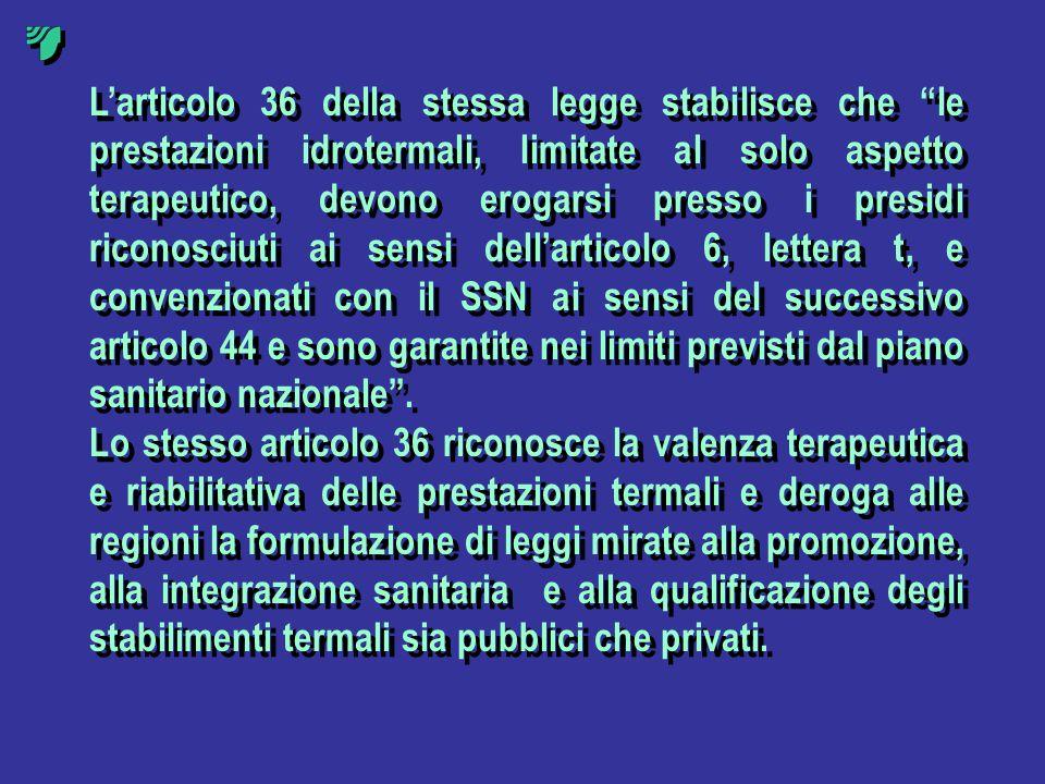 Larticolo 36 della stessa legge stabilisce che le prestazioni idrotermali, limitate al solo aspetto terapeutico, devono erogarsi presso i presidi rico