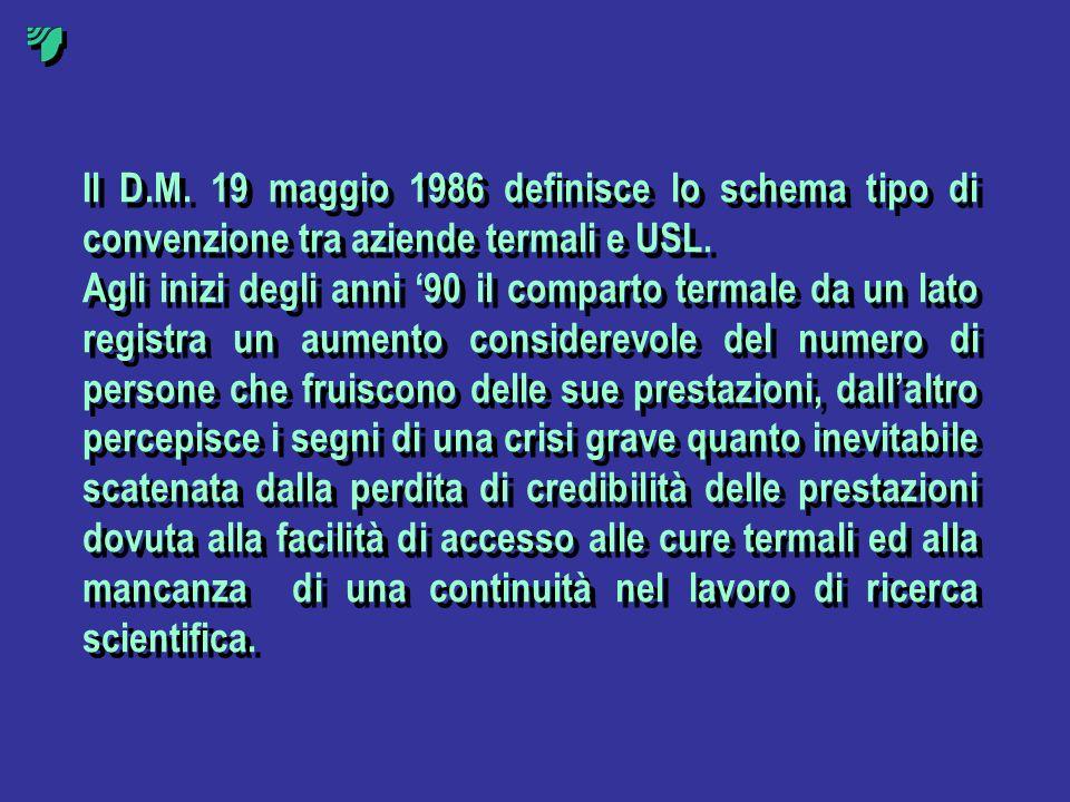 Il D.M. 19 maggio 1986 definisce lo schema tipo di convenzione tra aziende termali e USL. Agli inizi degli anni 90 il comparto termale da un lato regi