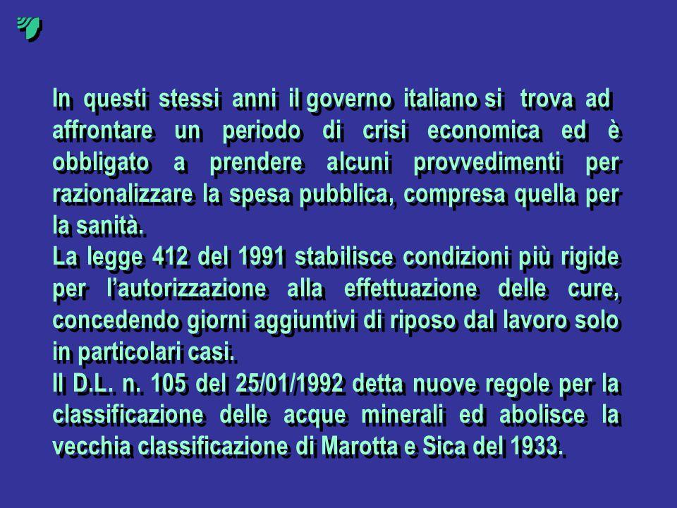 In questi stessi anni il governo italiano si trova ad affrontare un periodo di crisi economica ed è obbligato a prendere alcuni provvedimenti per razi
