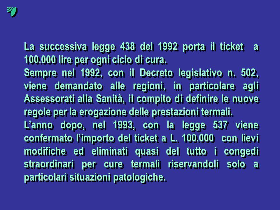 La successiva legge 438 del 1992 porta il ticket a 100.000 lire per ogni ciclo di cura. Sempre nel 1992, con il Decreto legislativo n. 502, viene dema