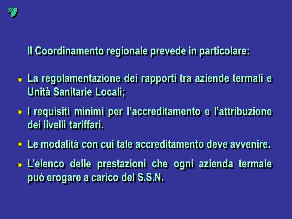 Il Coordinamento regionale prevede in particolare: La regolamentazione dei rapporti tra aziende termali e Unità Sanitarie Locali; I requisiti minimi p