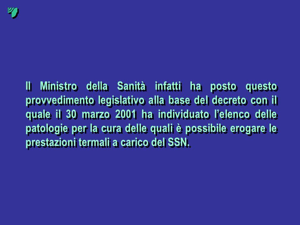 Il Ministro della Sanità infatti ha posto questo provvedimento legislativo alla base del decreto con il quale il 30 marzo 2001 ha individuato lelenco