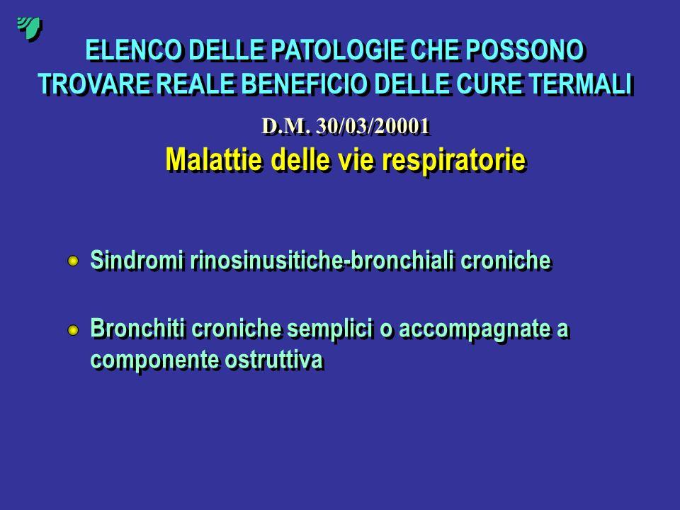 ELENCO DELLE PATOLOGIE CHE POSSONO TROVARE REALE BENEFICIO DELLE CURE TERMALI Malattie delle vie respiratorie Sindromi rinosinusitiche-bronchiali cron