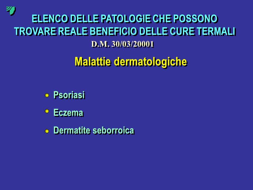 ELENCO DELLE PATOLOGIE CHE POSSONO TROVARE REALE BENEFICIO DELLE CURE TERMALI Malattie dermatologiche Psoriasi Eczema Dermatite seborroica Psoriasi Ec