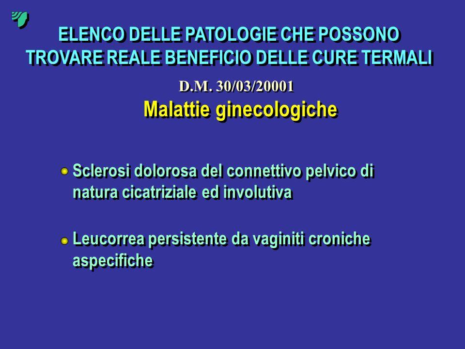 ELENCO DELLE PATOLOGIE CHE POSSONO TROVARE REALE BENEFICIO DELLE CURE TERMALI Malattie ginecologiche Sclerosi dolorosa del connettivo pelvico di natur