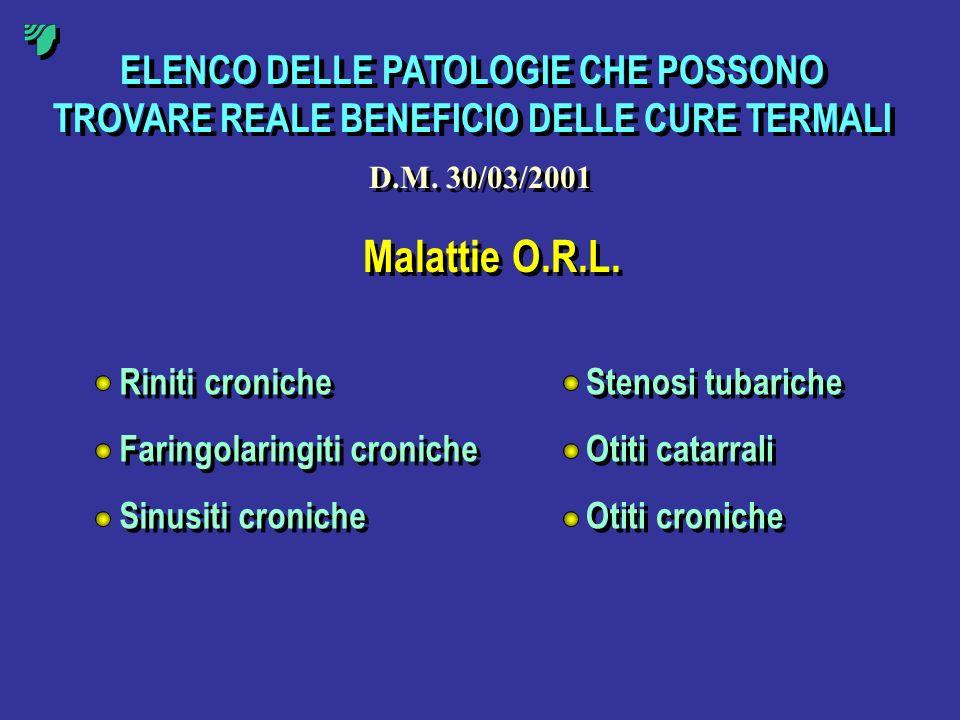 ELENCO DELLE PATOLOGIE CHE POSSONO TROVARE REALE BENEFICIO DELLE CURE TERMALI Malattie O.R.L. Riniti croniche Faringolaringiti croniche Sinusiti croni