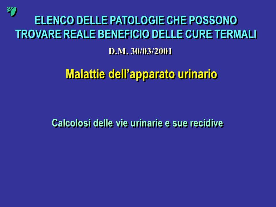 ELENCO DELLE PATOLOGIE CHE POSSONO TROVARE REALE BENEFICIO DELLE CURE TERMALI Malattie dellapparato urinario Calcolosi delle vie urinarie e sue recidi