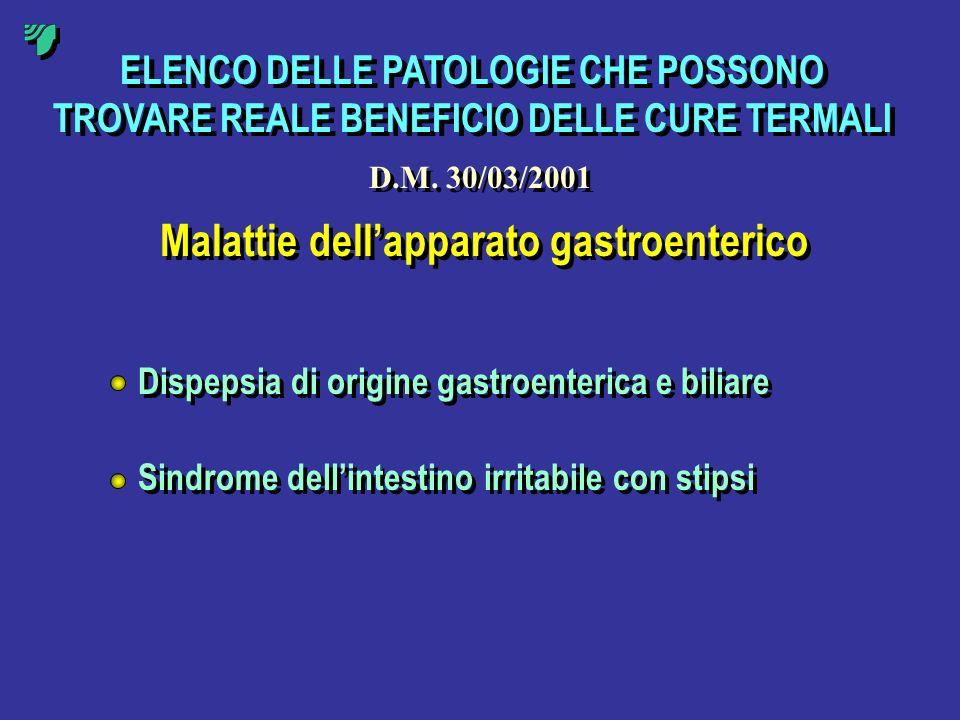 ELENCO DELLE PATOLOGIE CHE POSSONO TROVARE REALE BENEFICIO DELLE CURE TERMALI Malattie dellapparato gastroenterico Dispepsia di origine gastroenterica