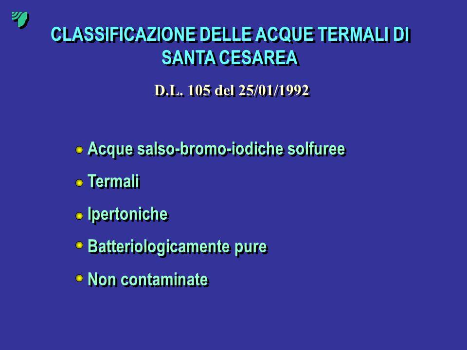 CLASSIFICAZIONE DELLE ACQUE TERMALI DI SANTA CESAREA Acque salso-bromo-iodiche solfuree Termali Ipertoniche Batteriologicamente pure Non contaminate A