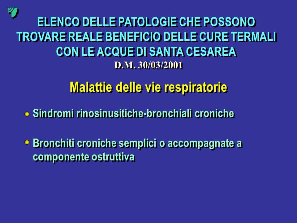 ELENCO DELLE PATOLOGIE CHE POSSONO TROVARE REALE BENEFICIO DELLE CURE TERMALI CON LE ACQUE DI SANTA CESAREA D.M. 30/03/2001 Malattie delle vie respira