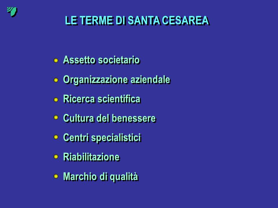 LE TERME DI SANTA CESAREA Assetto societario Organizzazione aziendale Ricerca scientifica Cultura del benessere Centri specialistici Riabilitazione Ma