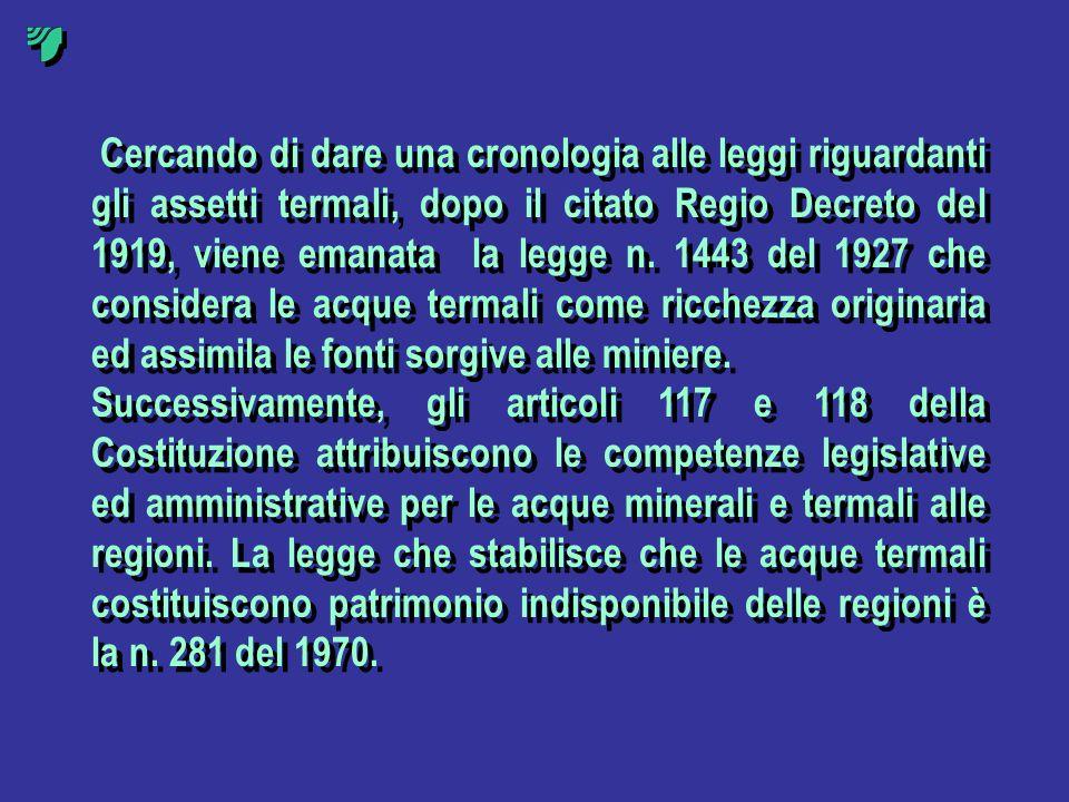 Cercando di dare una cronologia alle leggi riguardanti gli assetti termali, dopo il citato Regio Decreto del 1919, viene emanata la legge n. 1443 del