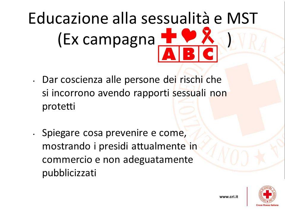 Educazione alla sessualità e MST (Ex campagna ) Dar coscienza alle persone dei rischi che si incorrono avendo rapporti sessuali non protetti Spiegare