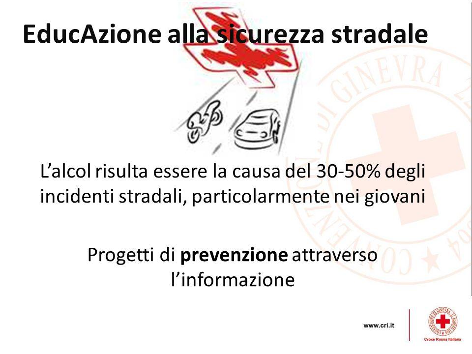EducAzione alla sicurezza stradale Lalcol risulta essere la causa del 30-50% degli incidenti stradali, particolarmente nei giovani Progetti di prevenz