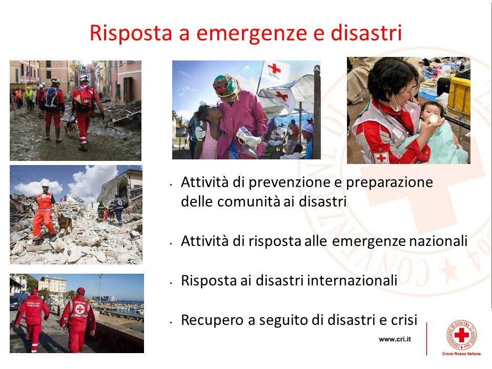 Risposta a emergenze e disastri Attività di prevenzione e preparazione delle comunità ai disastri Attività di risposta alle emergenze nazionali Rispos