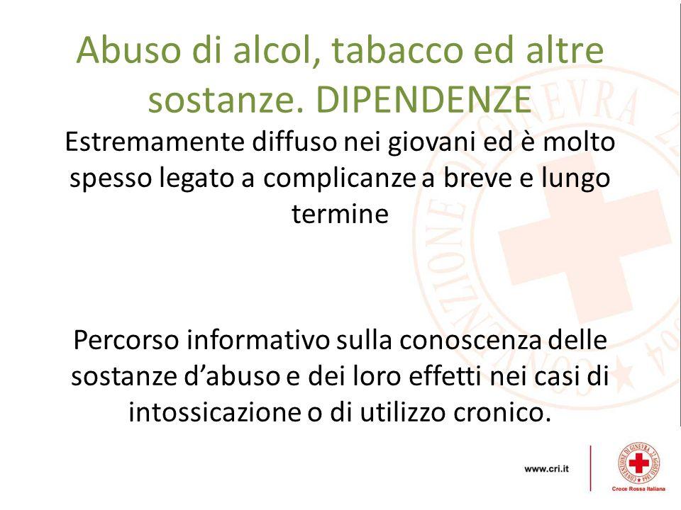 Abuso di alcol, tabacco ed altre sostanze. DIPENDENZE Estremamente diffuso nei giovani ed è molto spesso legato a complicanze a breve e lungo termine