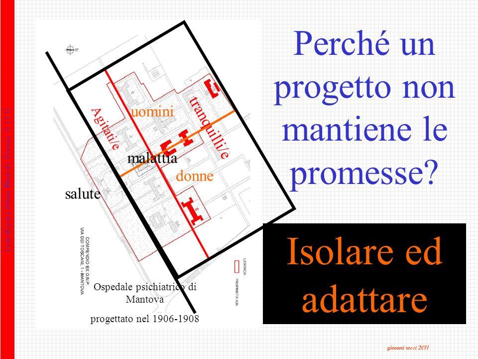 Isolare ed adattare salute malattia uomini donne Agitati/e tranquilli/e Ospedale psichiatrico di Mantova progettato nel 1906-1908 Perché un progetto non mantiene le promesse.