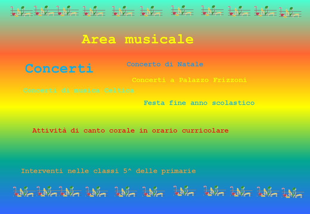 Area musicale Attività di canto corale in orario curricolare Festa fine anno scolastico Concerto di Natale Interventi nelle classi 5^ delle primarie C