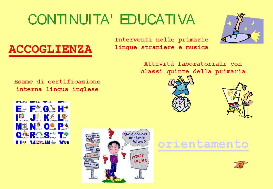 ACCOGLIENZA Interventi nelle primarie lingue straniere e musica Attività laboratoriali con classi quinte della primaria Esame di certificazione intern