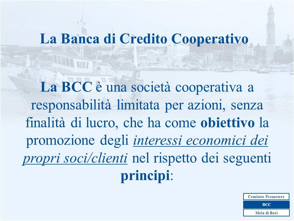 2 La Banca di Credito Cooperativo La BCC è una società cooperativa a responsabilità limitata per azioni, senza finalità di lucro, che ha come obiettiv