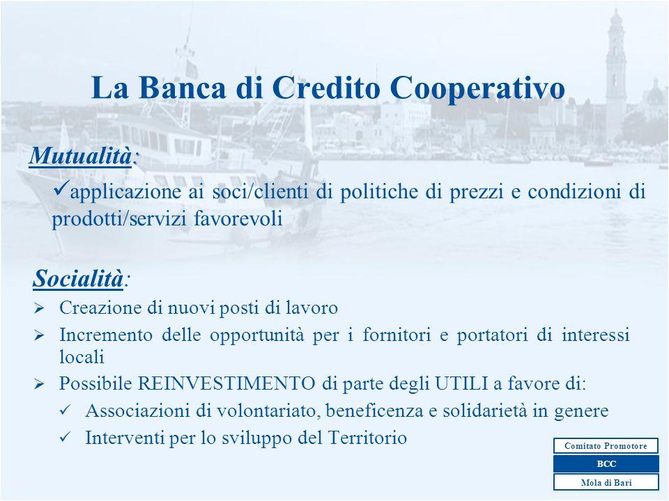 3 La Banca di Credito Cooperativo : Mutualità: applicazione ai soci/clienti di politiche di prezzi e condizioni di prodotti/servizi favorevoli Sociali