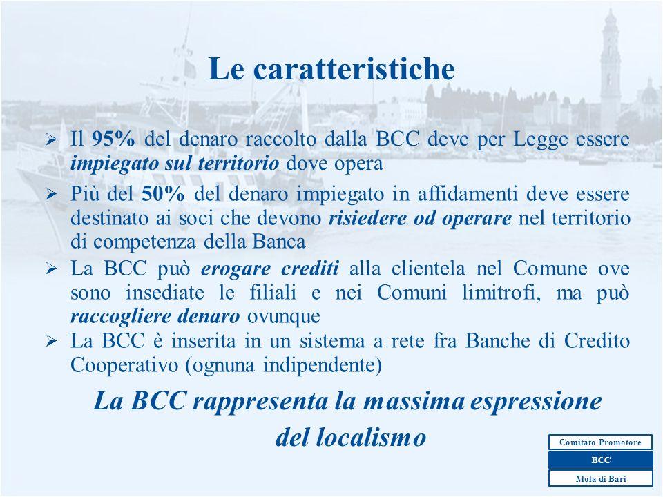 4 Il 95% del denaro raccolto dalla BCC deve per Legge essere impiegato sul territorio dove opera Le caratteristiche Più del 50% del denaro impiegato i