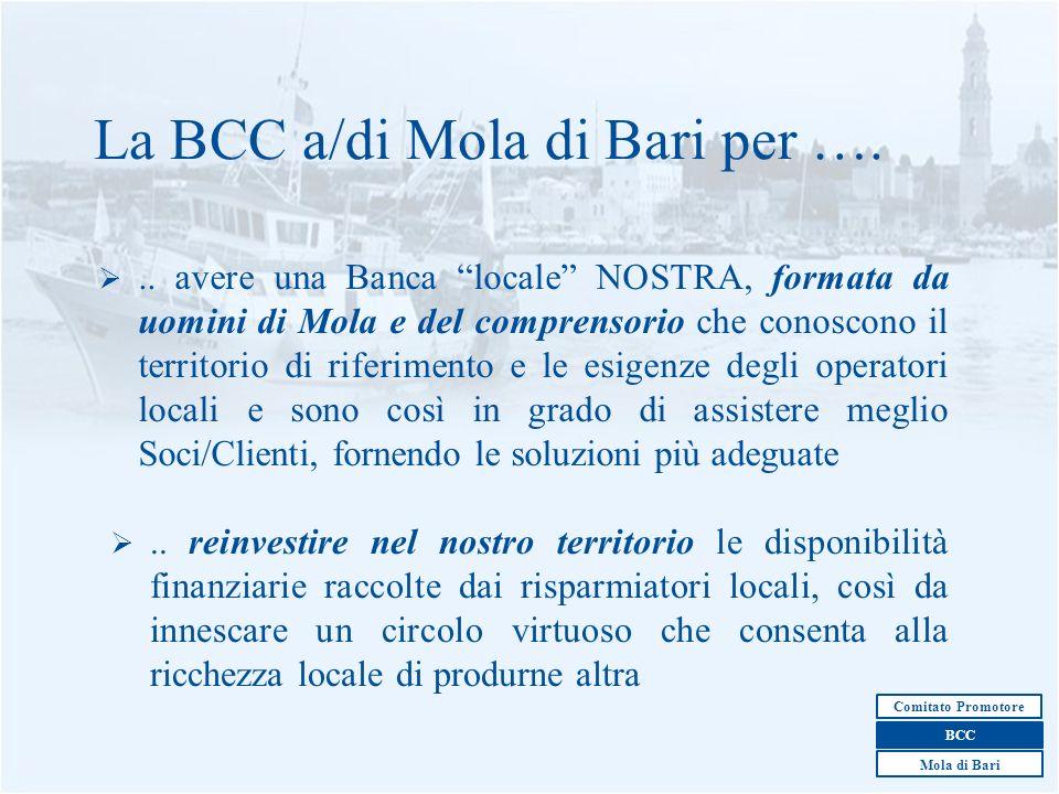 6 La BCC a/di Mola di Bari per …... avere una Banca locale NOSTRA, formata da uomini di Mola e del comprensorio che conoscono il territorio di riferim