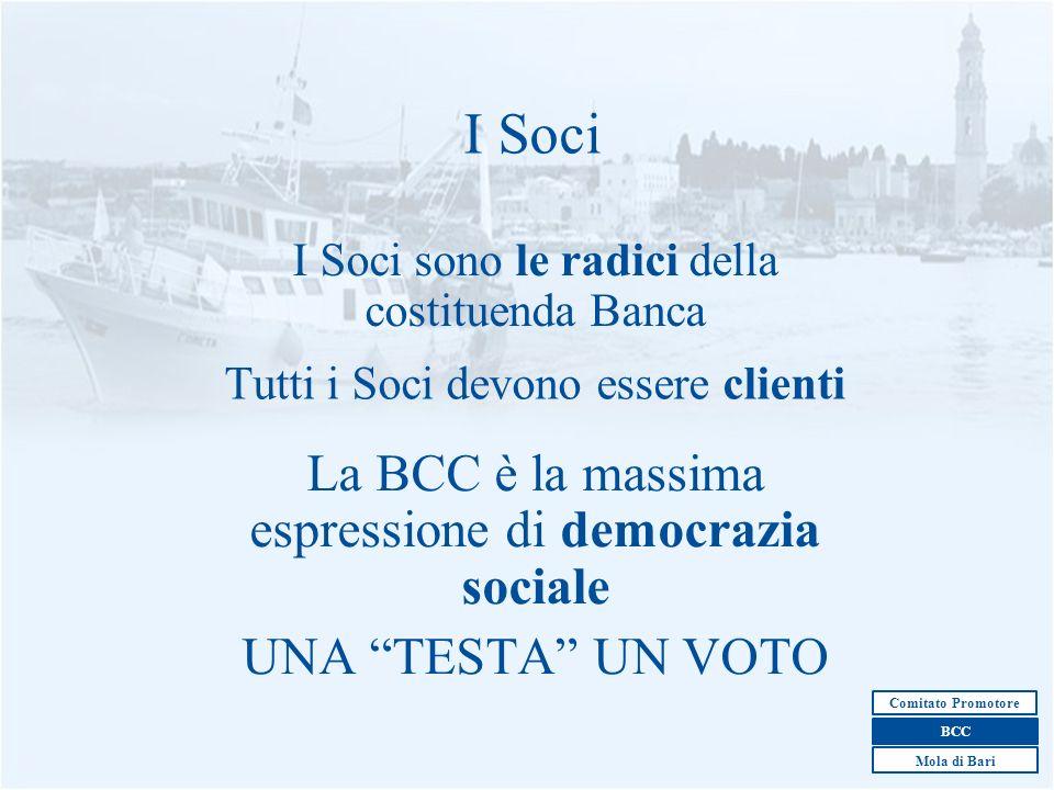 7 I Soci sono le radici della costituenda Banca I Soci Tutti i Soci devono essere clienti La BCC è la massima espressione di democrazia sociale UNA TE