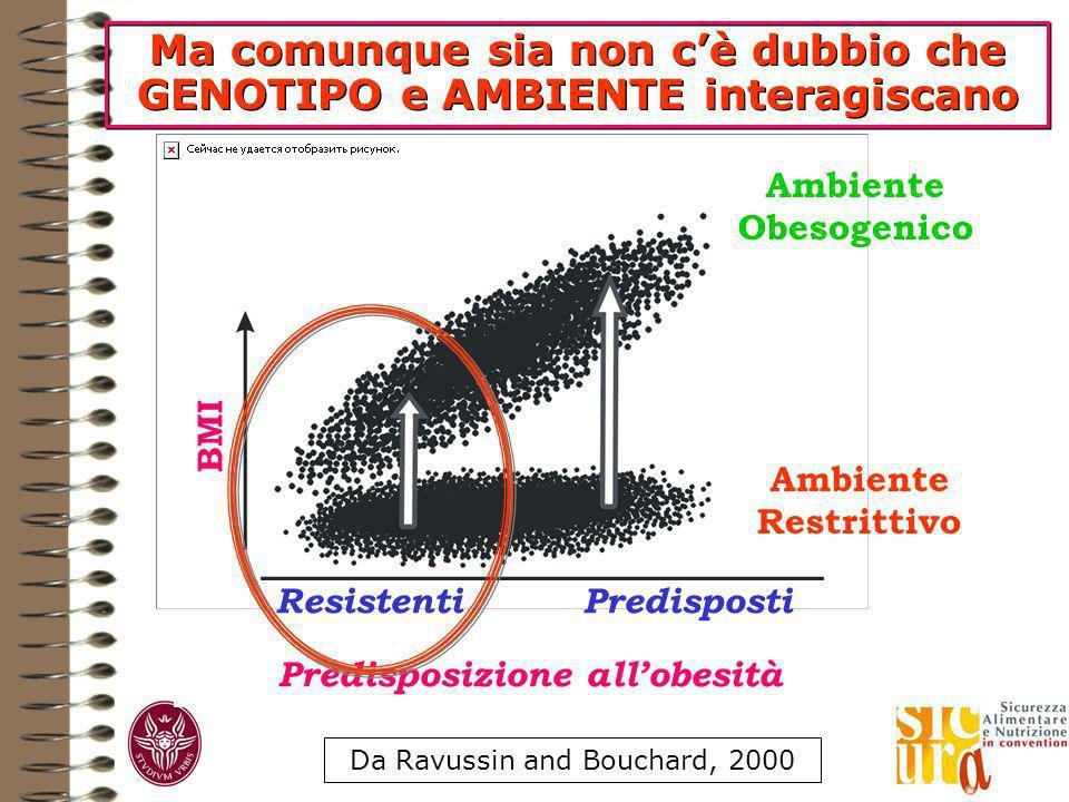Ma comunque sia non cè dubbio che GENOTIPO e AMBIENTE interagiscano Da Ravussin and Bouchard, 2000 Predisposizione allobesità ResistentiPredisposti BMI Ambiente Obesogenico Ambiente Restrittivo