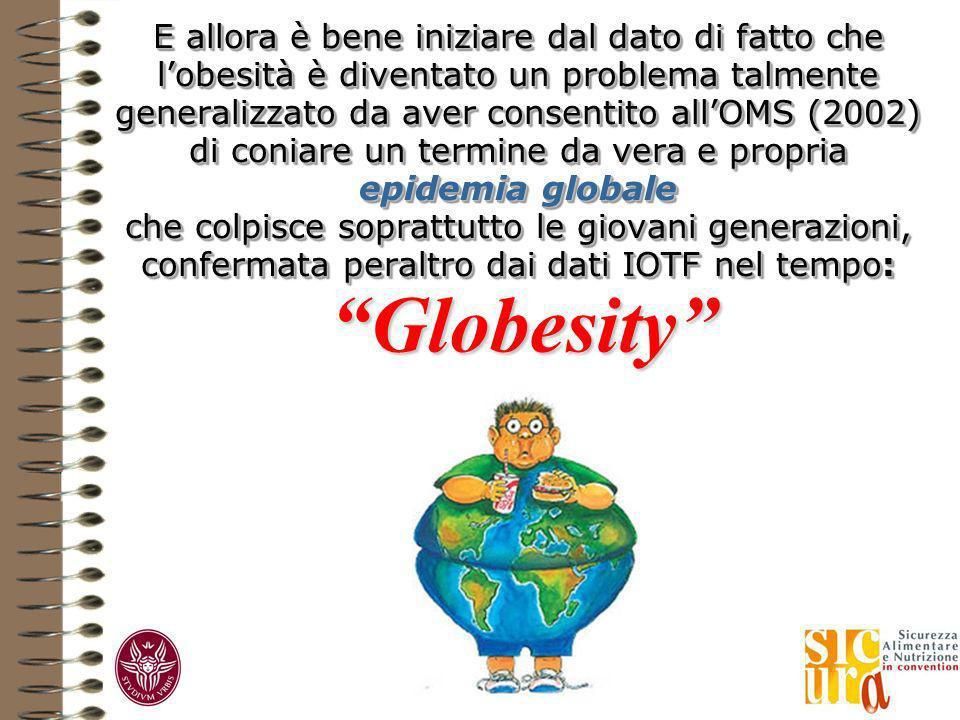 E allora è bene iniziare dal dato di fatto che lobesità è diventato un problema talmente generalizzato da aver consentito allOMS (2002) di coniare un termine da vera e propria epidemia globale che colpisce soprattutto le giovani generazioni, confermata peraltro dai dati IOTF nel tempo: Globesity