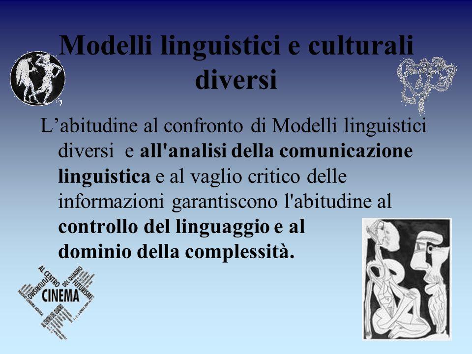 Modelli linguistici e culturali diversi Labitudine al confronto di Modelli linguistici diversi e all'analisi della comunicazione linguistica e al vagl