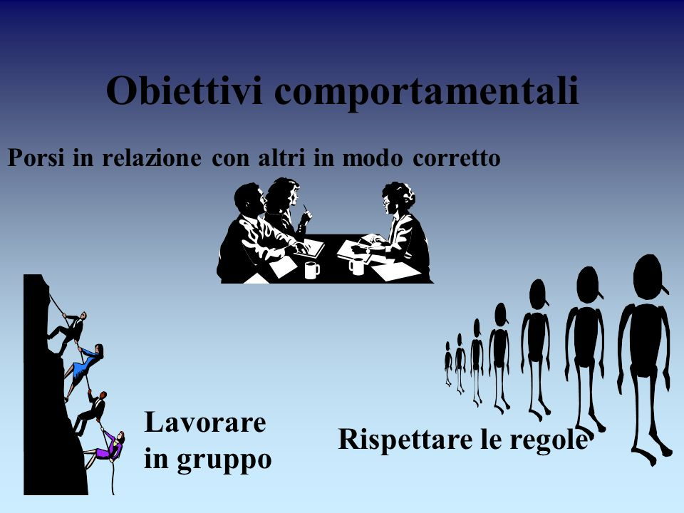 Obiettivi comportamentali Porsi in relazione con altri in modo corretto Rispettare le regole Lavorare in gruppo