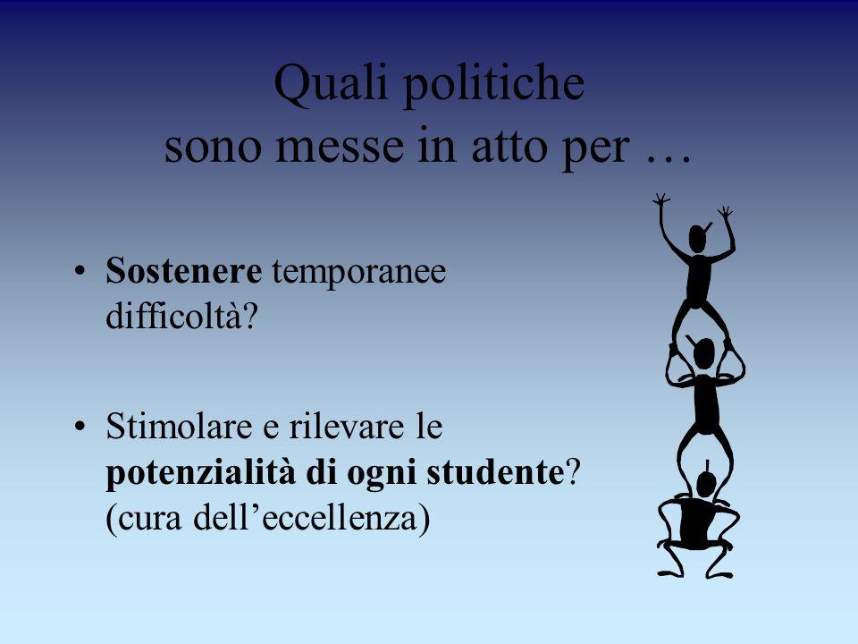 Quali politiche sono messe in atto per … Sostenere temporanee difficoltà? Stimolare e rilevare le potenzialità di ogni studente? (cura delleccellenza)