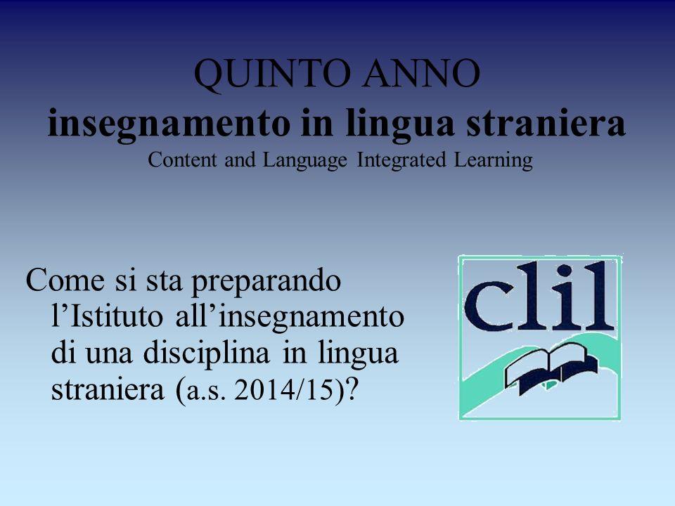 QUINTO ANNO insegnamento in lingua straniera Come si sta preparando lIstituto allinsegnamento di una disciplina in lingua straniera ( a.s. 2014/15) ?