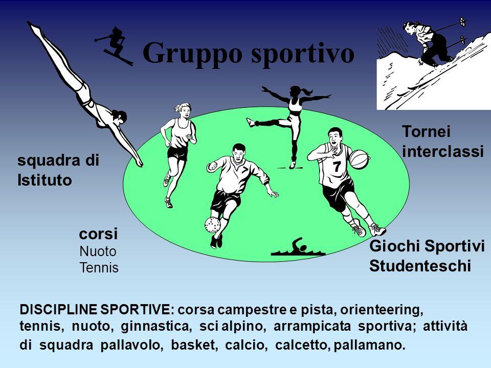 DISCIPLINE SPORTIVE: corsa campestre e pista, orienteering, tennis, nuoto, ginnastica, sci alpino, arrampicata sportiva; attività di squadra pallavolo