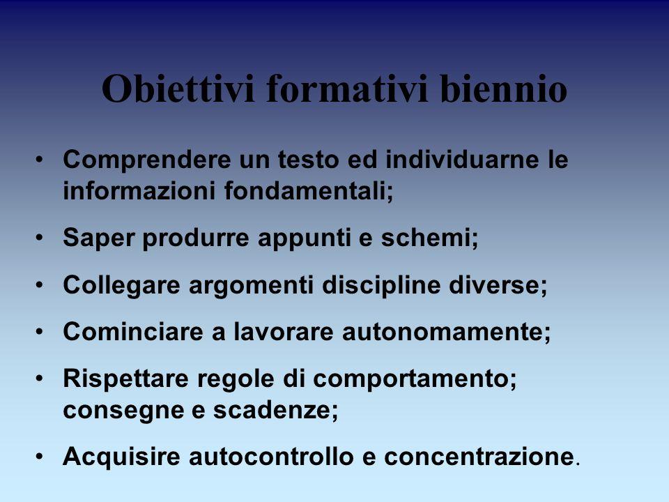 Obiettivi formativi biennio Comprendere un testo ed individuarne le informazioni fondamentali; Saper produrre appunti e schemi; Collegare argomenti di