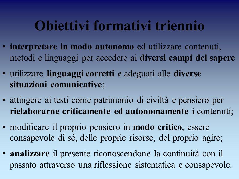 Obiettivi formativi triennio interpretare in modo autonomo ed utilizzare contenuti, metodi e linguaggi per accedere ai diversi campi del sapere utiliz