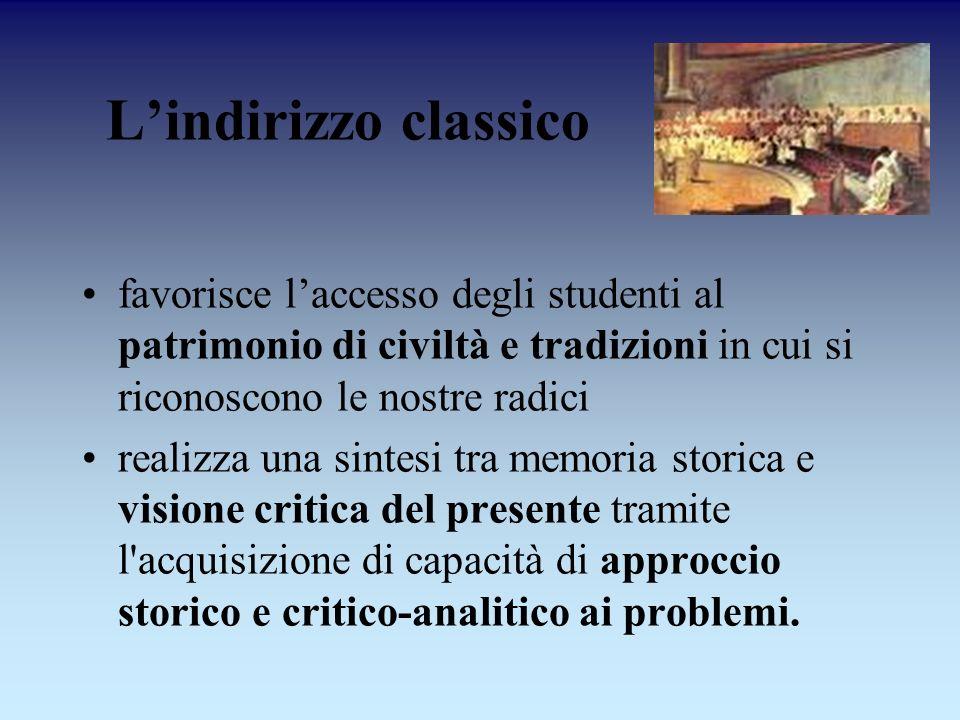 Lindirizzo classico favorisce laccesso degli studenti al patrimonio di civiltà e tradizioni in cui si riconoscono le nostre radici realizza una sintes