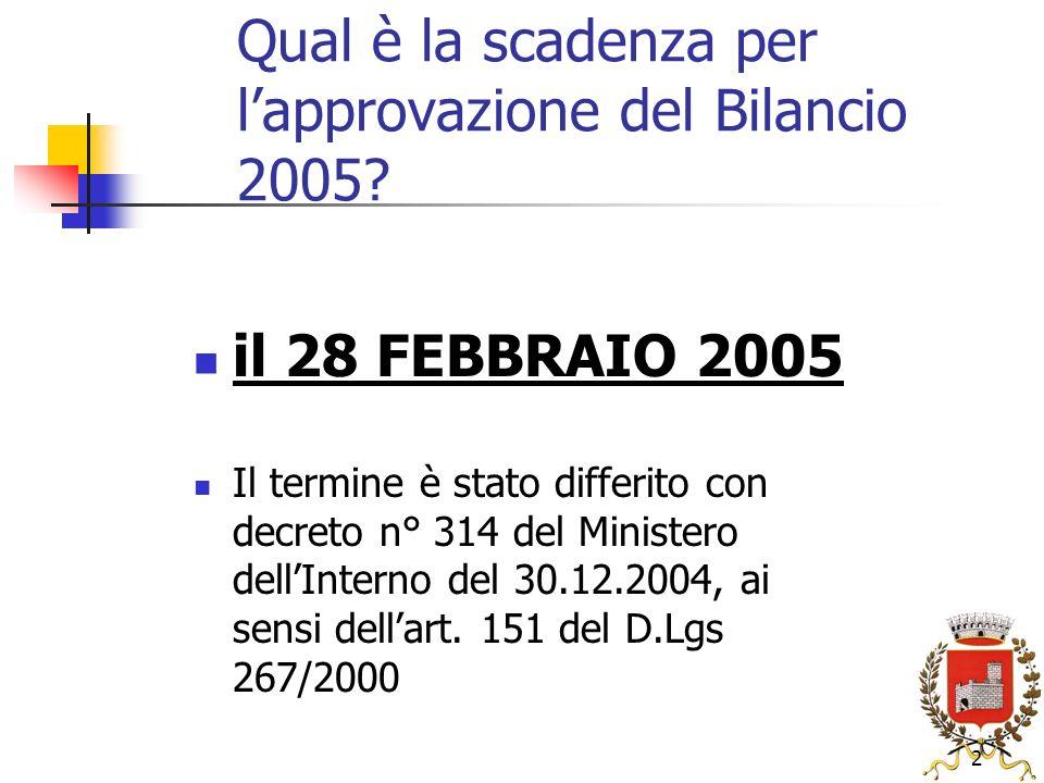 2 Qual è la scadenza per lapprovazione del Bilancio 2005.